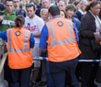 Tube workers deal with crowds of passengers